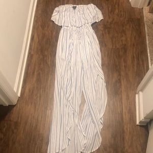 Rue 21 blue and white stripe jumpsuit